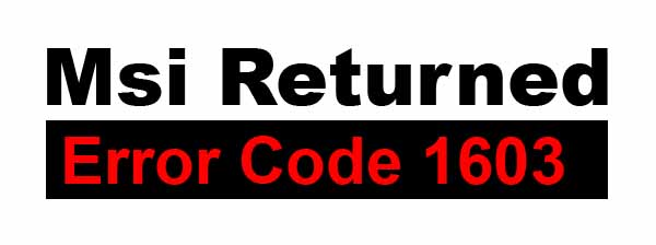 Error code 1603